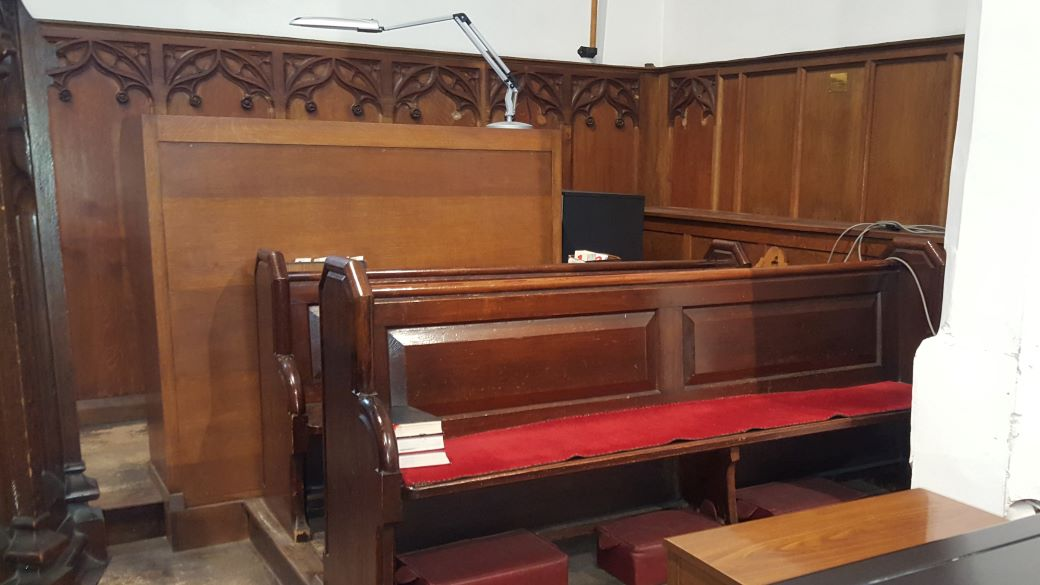Redundant choir pews for disposal